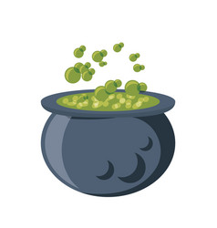 cauldron with green potion icon vector image