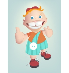 Child shows healthy teeth cartoon vector