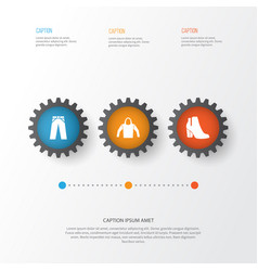 clothes icons set collection of pants sweatshirt vector image
