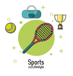 colorful poster of sports lifestyle with tennis vector image
