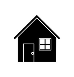 contour nice house with door window and roof vector image