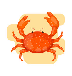 Crab in the sand in flat style vector