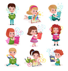 cute little boys and girls reading fairytale books vector image