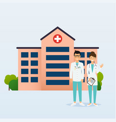 doctors in in medical uniform hospital on a vector image