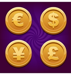 Dollar Euro Pound and Yen gold coins vector