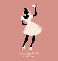 elegant bride dancing with bouquet in hand vector image