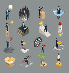 Entrepreneur isometric icons vector