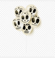 festive white balloons for day of the dead vector image