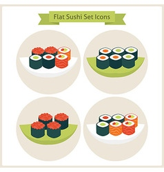 Flat Sushi Circle Icons Set vector image