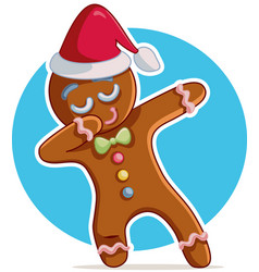 Funny dabbing gingerbread man cartoon vector