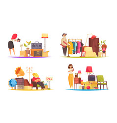 Garage sale concept icons set vector