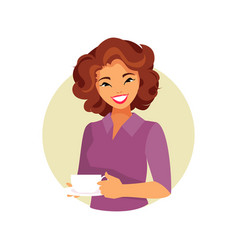Girl with coffee vector