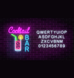 Glowing neon cocktails bar signboard with vector
