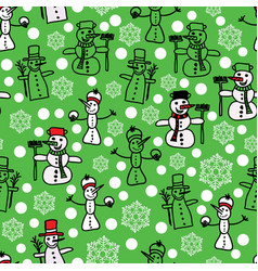 green white snowman and christmas pattern vector image