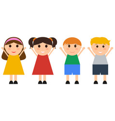 group happy children jumping fun vector image