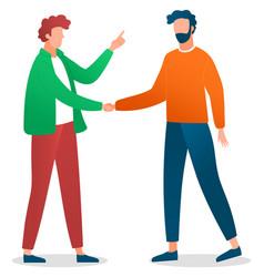 handshaking men friends meeting two young vector image