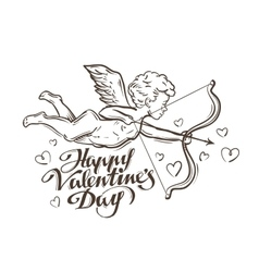 happy Valentines day flying Cupid vector image