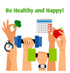 healthy ifestyle concept with hands vector image