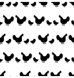 Hens and chickens silhouette in lines pattern vector