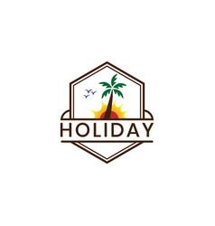 holiday logo template with hexagonal shape logo vector image