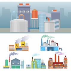 Industrial Factory Buildings Architectural Set vector
