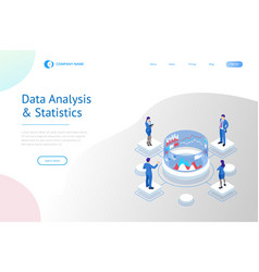 isometric expert team for data analysis business vector image
