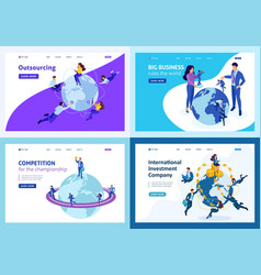 isometric world domination management cooperation vector image