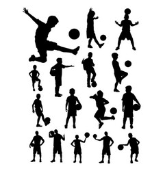 Junior soccer player detail silhouette vector
