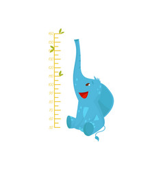 kids measuring ruler and cute blue elephant wild vector image