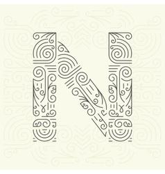 Letter N Golden Monogram Design element vector image