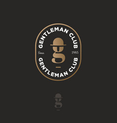Logo gentleman club gold letter g hat-bowler vector