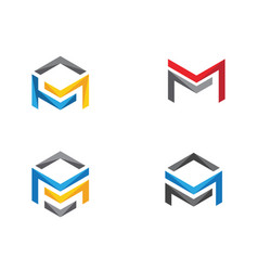 m logo hexagon icon vector image
