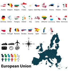 Maps with flags european union vector