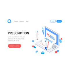 medical rx prescription drug isometric concept vector image