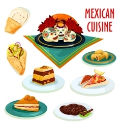 Mexican cuisine desserts and snacks isolated icons vector