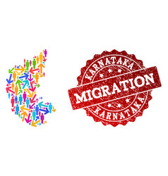 Migration composition of mosaic map of karnataka vector