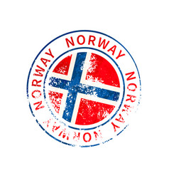 norway sign vintage grunge imprint with flag on vector image