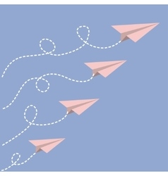 Origami paper plane set Dash line loop in the vector image