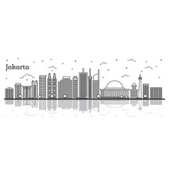 Outline jakarta indonesia city skyline with vector