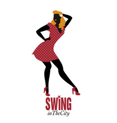 pinup girl wearing retro clothes dancing vector image