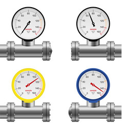 Pipe pressure gauge set vector