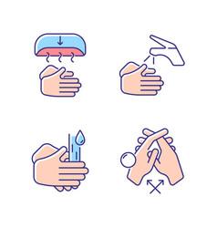 Proper handwashing rgb color icons set vector
