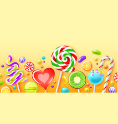 realistic candies poster color sweets bright vector image