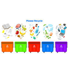 recycling garbage elements bag or containers or vector image