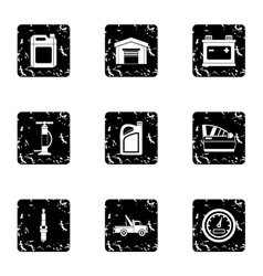 Repair machine icons set grunge style vector image