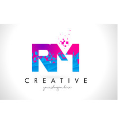 Rm r m letter logo with shattered broken blue vector