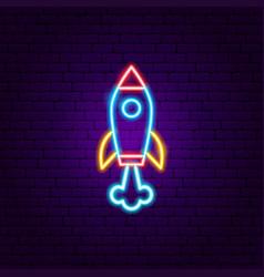 Rocket neon label vector