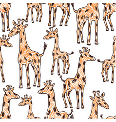 Seamless background of the drawn giraffes vector