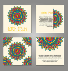 set cards with decorative elements vector image