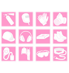 set icons protective equipment in industry vector image